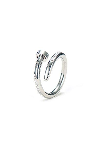 Chavin Taşlı Çivi Tasarım Bayan Çelik Yüzük Eh80by