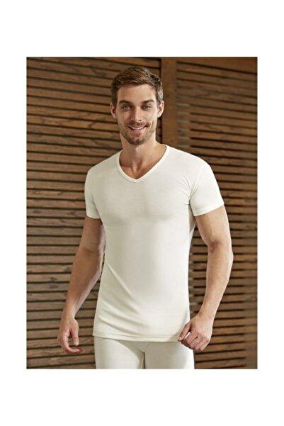 Eros Erkek Ekru  V Yaka Yarım Kol Termal Giyim İçlik