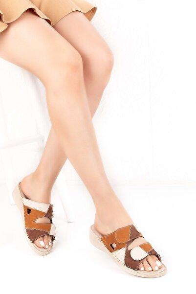 Gondol Kadın Kahverengi Hakiki Deri Çok Renkli Yumuşak Anatomik Taban Terlik