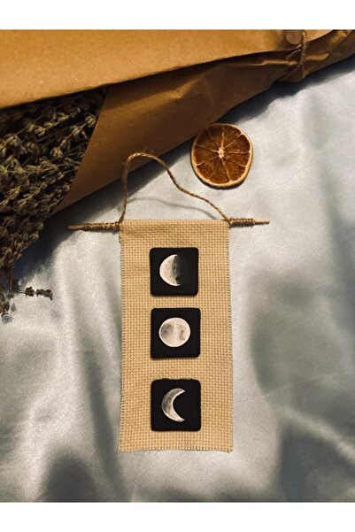 Sticker Sepetim El Yapımı Kumaş Zeminli Ahşap Ay Evreleri Duvar Süsü