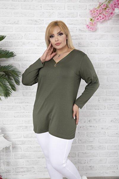 EGZ BUTİK Kadın Haki Klasik Fermuarlı Bluz