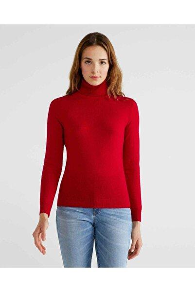 United Colors of Benetton Kadın Kırmızı Dik Yaka Merino Kazak