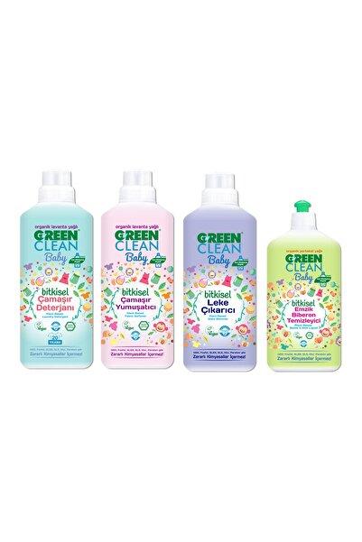 Green Clean Baby Organik Bitkisel Çamaşır Detarjanı + Yumuşatıcı + Leke Çıkarıcı + Emzik Biberon Temizleyici