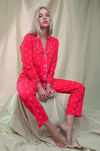 Çağrı Kadın Kırmızı Pamuklu Uzun Kollu Pijama Takımı