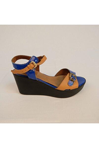 KEMAL TANCA Hakiki Deri Kadın Dolgu Topuk Cobalt Mavisi Kadın Ayakkabı 250m01507