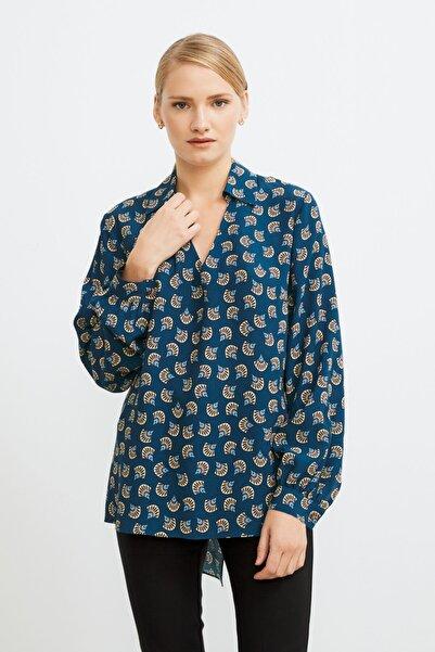 Love My Body Kadın Mavi Gömlek Yaka Desenli Bluz