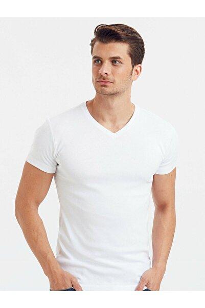Buğlem İç Giyim Erkek Beyaz V Yaka Kısa Kol Fanila