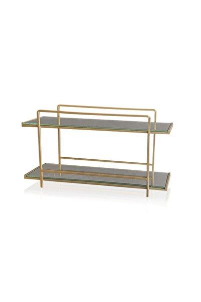 The Mia Kozmetik Standı 2 Katlı Gold - 20x37x13 Cm