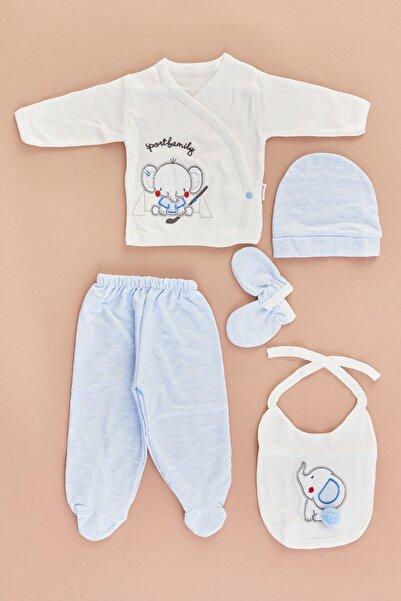 Fulla Moda Unisex Bebek Mavi Fil Baskılı 5'Li Takım
