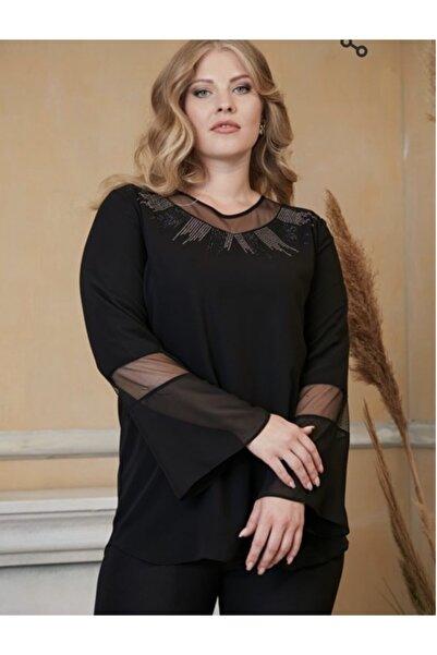 RMG Kadın Siyah Kol ve Yaka Tül Detayli Büyük Beden Bluz