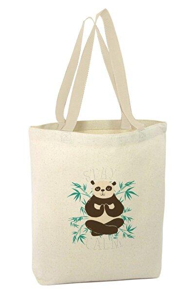 Angemiel Bag Bitkler Içinde Panda Tasarımı Sakin Ol Alışveriş Plaj Bez Çanta