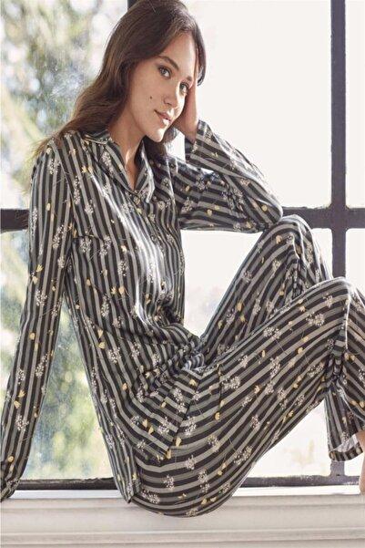 Eros Kadın Siyah Pamuklu Çizgili Boydan Düğmeli Bayan Pijama Takım 27620