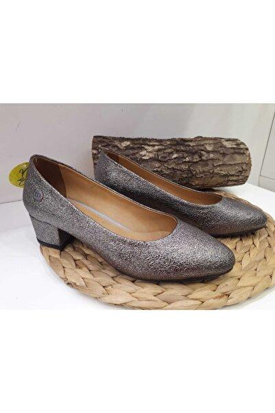 Mammamia Kadın Platin Az Topuklu Ayakkabı