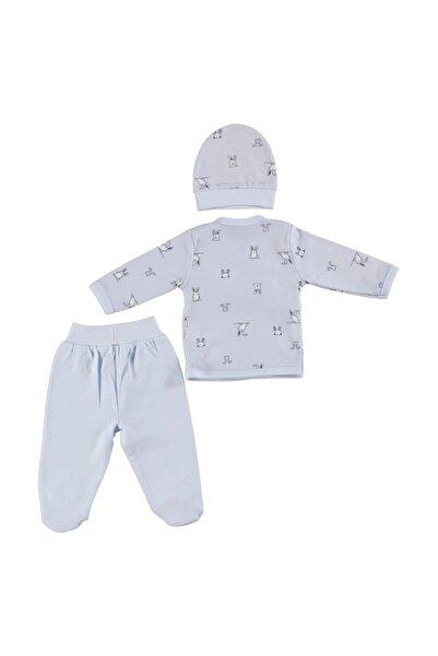 HelloBaby Erkek Bebek Mavi Zıbın Şapka Patikli Alt 3'lü Set Kız Modeller