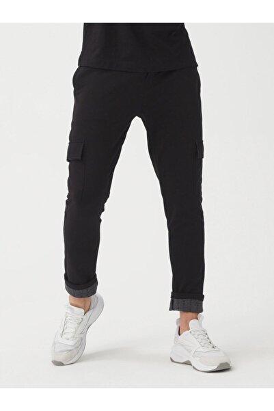 Xint Erkek Siyah Pamuklu Kargo Cepli Slim Fit Sweat Pantolon