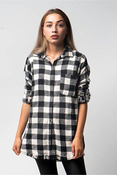 CNS Kadın Siyah Ekose Gömlek