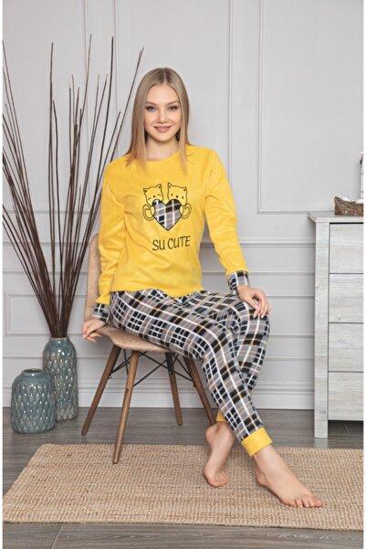 RİNDA Kadın Sarı Uzun Kollu Polar Pijama Takımı