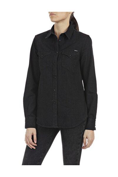 Replay Kadın Siyah Camicia 6 Oz Black Denım Gömlek