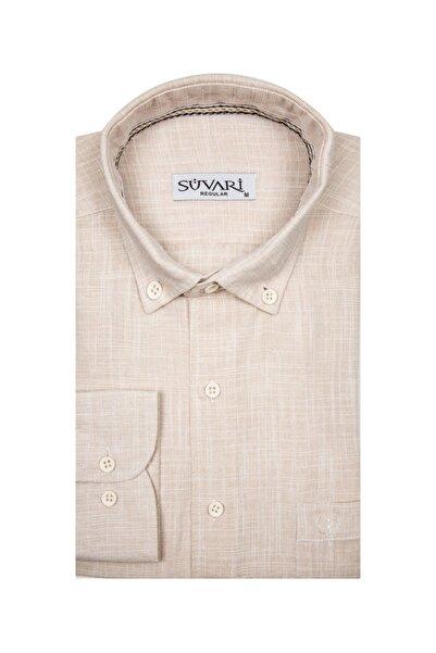 SÜVARİ Erkek Bej Bol Kesim Pamuk Gömlek
