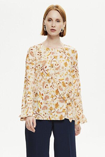 Naramaxx Kadın Sarı Düğüm Detaylı Bluz