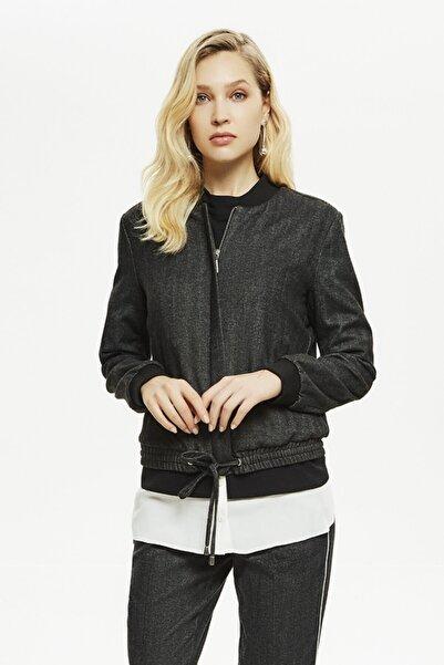 Naramaxx Kadın Gri Bel Oturtmalı Ceket