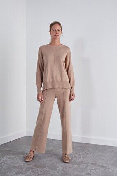 Kadın Kahverengi Beli Lastikli Triko Pantolon