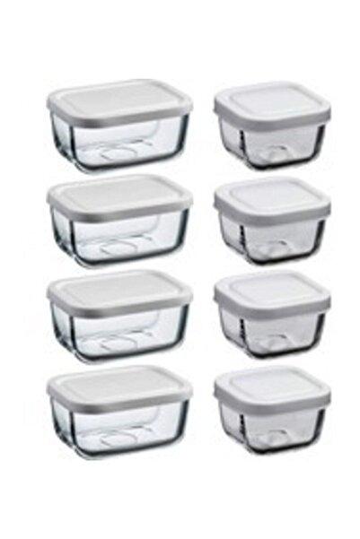 Paşabahçe Snowbox 8'li Saklama Kabı Beyaz Kapaklı