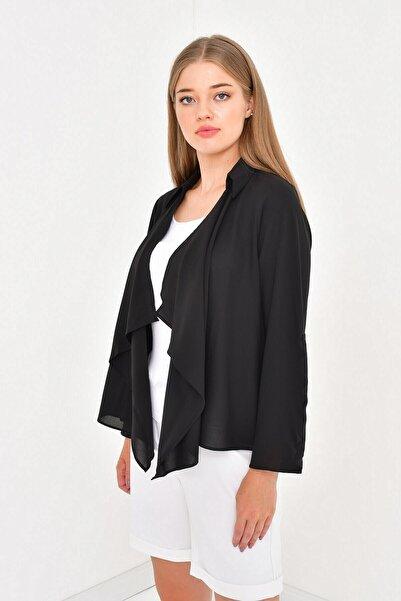 MYLİNE Kadın Siyah Önü Volanlı Krep Bluz Ceket