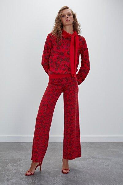 JOIN US Kadın Kırmızı Multi Çiçek Desenli Beli Lastikli Triko Pantolon