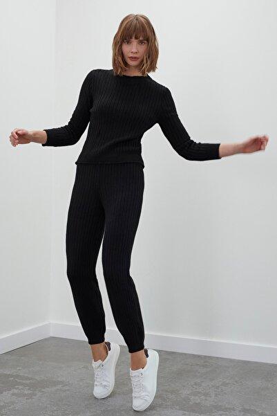 JOIN US Kadın Siyah Beli ve Paçası Lastikli Triko Pantolon