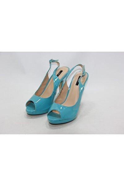 İnci Kadın Mavi Hakiki Deri Topuklu Ayakkabı