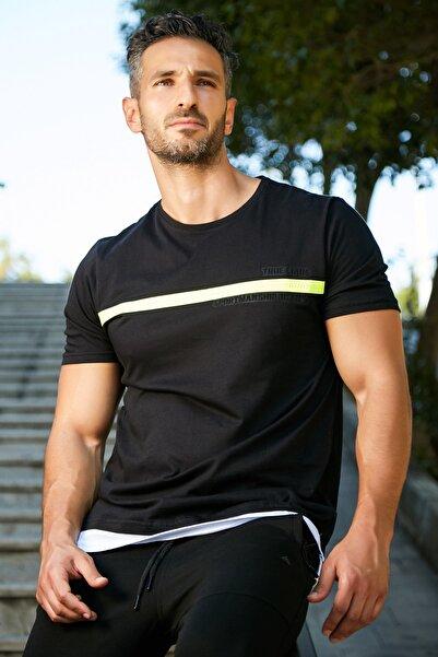 Five Pocket Erkek Fosfor Şeritli Siyah Tshirt