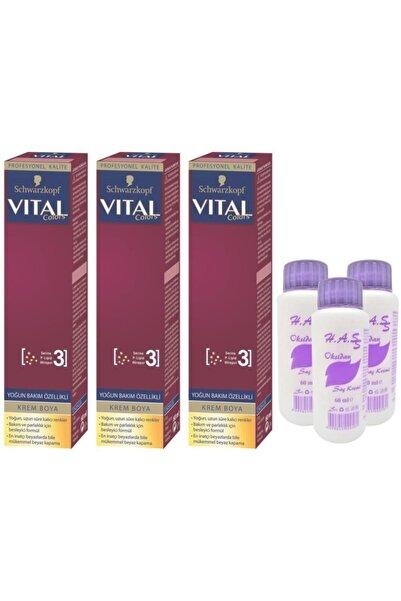 SCHWARZKOPF HAIR MASCARA Vital Colors Saç Boyası Kahve Köpüğü-8-4+oksidan 3 Adet