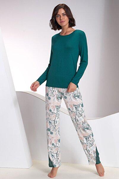 Sevim Kadın Koyu Yeşil Pijama Takım