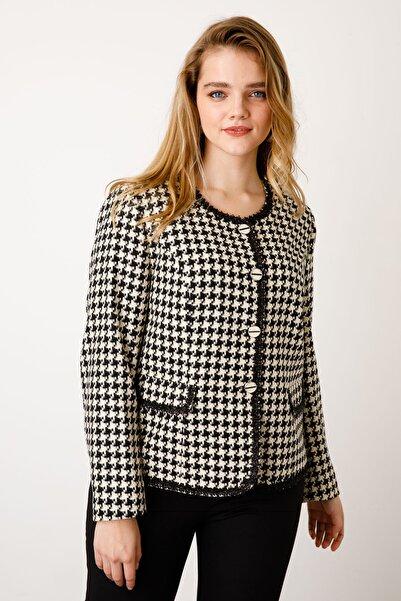 Ekol Kadın Kapak Cepli Desenli Ceket