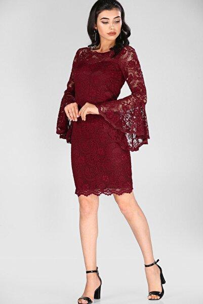 Nesrinden Kadın Dantel İşlemeli Vişne Elbise