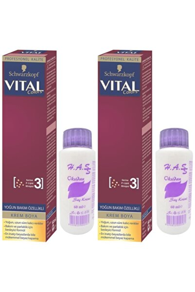 SCHWARZKOPF HAIR MASCARA Vital Colors Saç Boyası Koyu Fındık Kabuğu-7-65 Oksidan 2 Adet