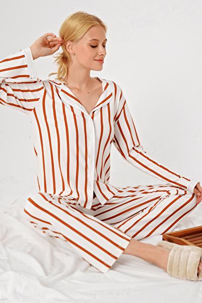 Trend Alaçatı Stili Kadın Tarçın Çizgili Gömlek Yaka Pijama Takım ALC-X5154