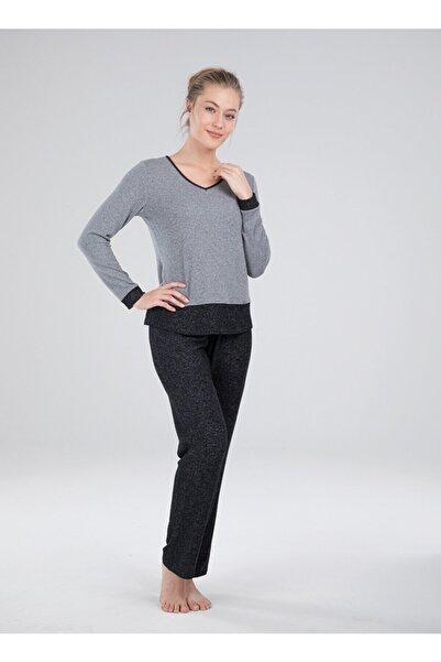 Blackspade Kadın Gri 50052 Kışlık Pijama Takımı