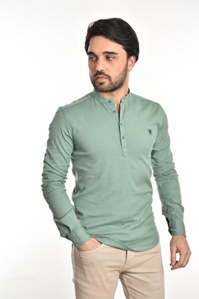 Liwali Erkek Zümrüt Yeşili Hakim Yaka Yarım Düğmeli Gömlek