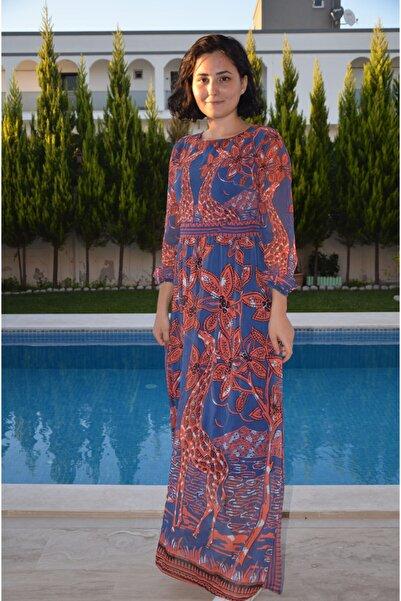 zeynep Kadın Lacivert Boydan Şifon Elbise