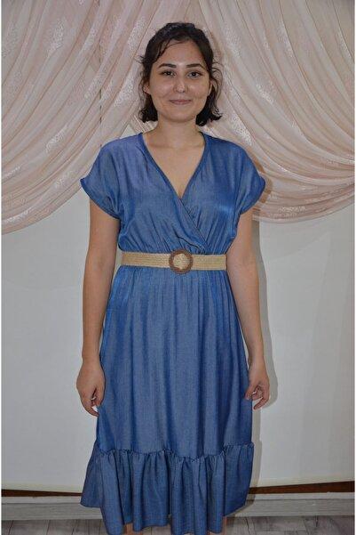 zeynep Kadın Mavi Fırfırlı Elbise