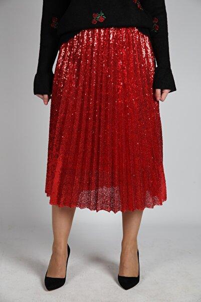 zeynep Kadın Kırmızı Pul Payet Etek
