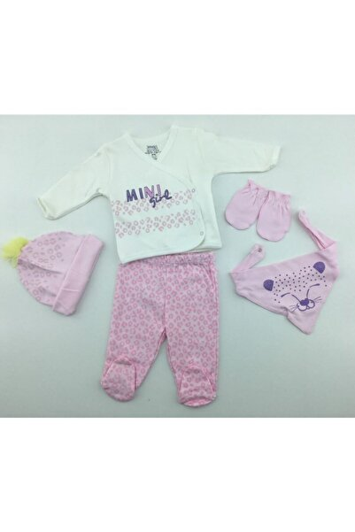 İmaj Kız Bebek Pembe Leopar Desenli 5li Set 5071-1
