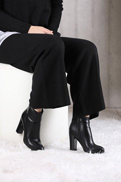 VİVA Kadın Siyah Ağzı Taşlı Yüksek Topuklu Bot