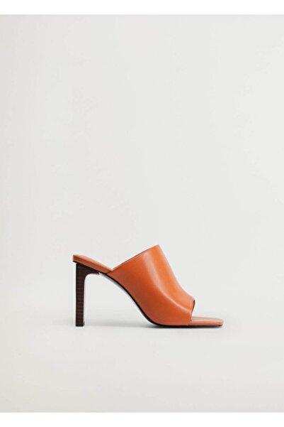 MANGO Woman Kadın Turuncu Topuklu Deri Sandalet 77090521