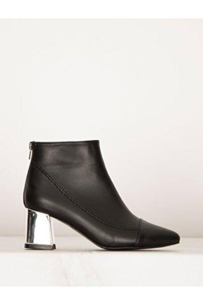 Say Kadın Siyah Cilt Gümüş Topuklu Bot