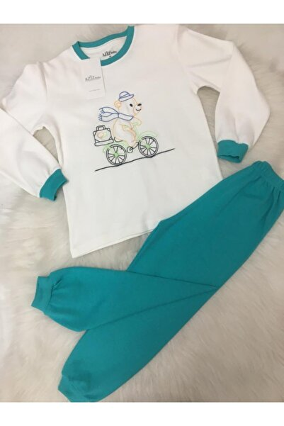 Aziz Bebe Erkek Çocuk Turkuaz Pamuklu Pijama Takımı