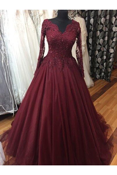 Nevin Gelinlik Kadın Bordo Kına Elbisesi