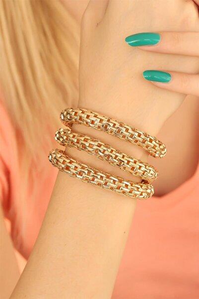 Accessories Gold Renk Metal Üçlü Bileklik